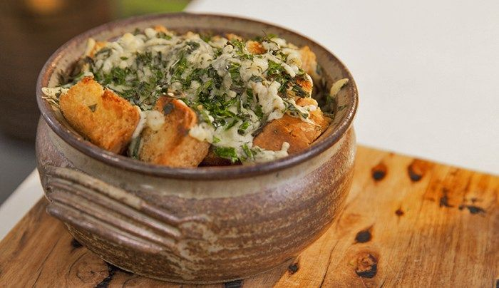 French Onion Cider Soup with Herb Cheese Croutons - Good Chef Bad Chef