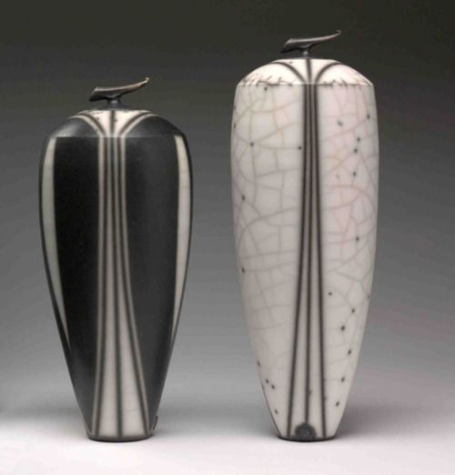 "ceramicsnow: "" Tim Andrews: Tall black and white curling pieces """