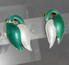 Vintage J. Tostrop Norway Sterling Silver Green White Enamel Earrings J0509