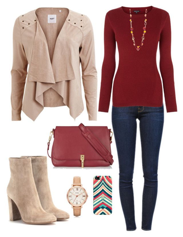 """""""What to wear tomorrow"""" by heather-hop ❤ liked on Polyvore featuring Casetify, Elizabeth and James, Frame Denim, Warehouse, Gianvito Rossi, Object Collectors Item, Ruby Rd and FOSSIL"""