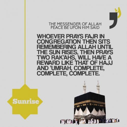 It means that the one who does that will have the reward of a complete Hajj and 'umrah, and this is a bounty that Allaah bestows upon whomsoever He wills. So make sure not to miss the flight next morning. #ReviveASunnah Narrated by al-Tirmidhi (586)