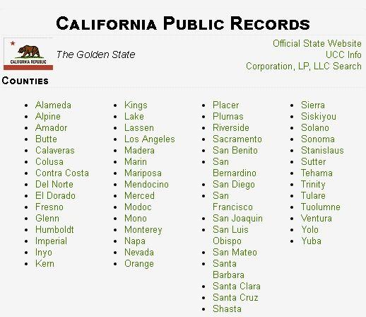 California Public Records Public Records California Public