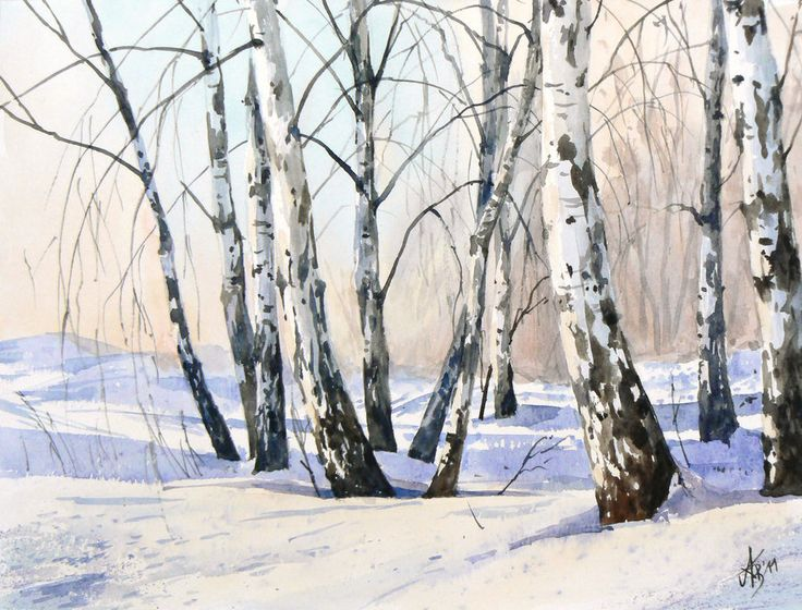 The birch-trees in winter by ~mashami on deviantART (watercolor painting) #Art