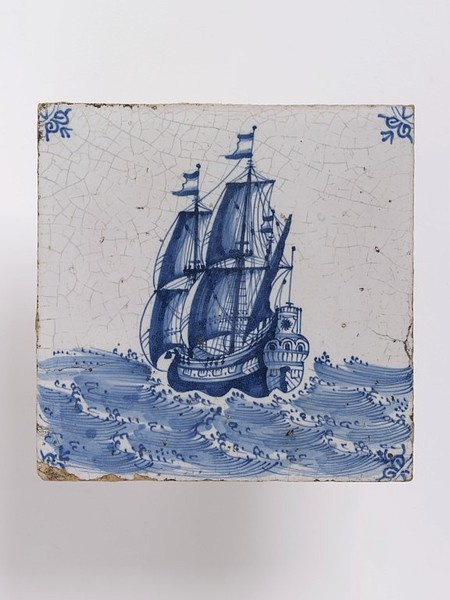 Wall tile of tin-glazed earthenware with painted decoration in blue, possibly made in Friesland, Netherlands, 1650-1700 V CIRC.7-1963