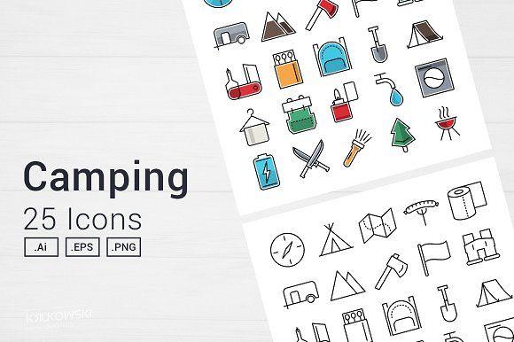 Camping Adventure Icons Set by Krukowski Graphics on @creativemarket
