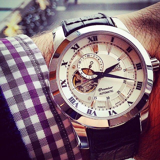 Seiko Premier Automatic SSA213J2 - Open heart dial - Blue hands - Made in Japan  0 212 353 0 911  #saat #seiko #mechanical #watch #watches #japan #time #timepiece #openheart #black #white #blue #kanyon #cadde #konyalikanyon #dailywatch #premier #business #modern #classic #bestwatchoftheday #best