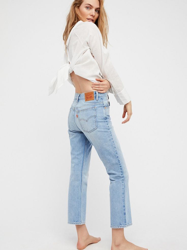 Levi's 517 Cropped Boot Cut Jeans | In Levi's authentic rigid denim, these high rise jeans are in a bootcut silhouette.    * Ankle grazing inseam   * Five-pocket style   * Zip fly and button closure   * Knees may tear further during wearing