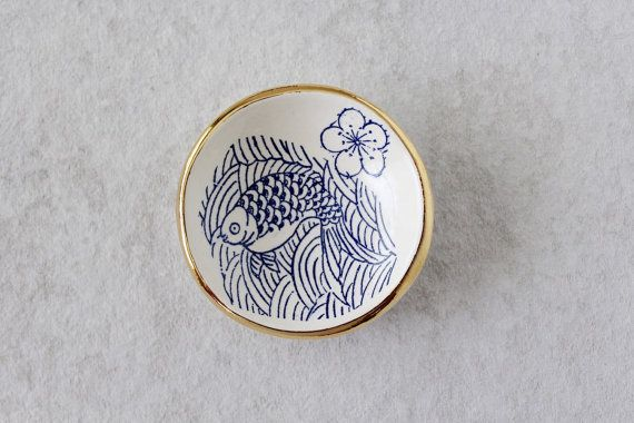 Koi Fish Ring Dish with Gold - Ring Holder - Jewerly Dish - Ceramics with Gold - Small Ceramic Dish - Ceramics and Pottery