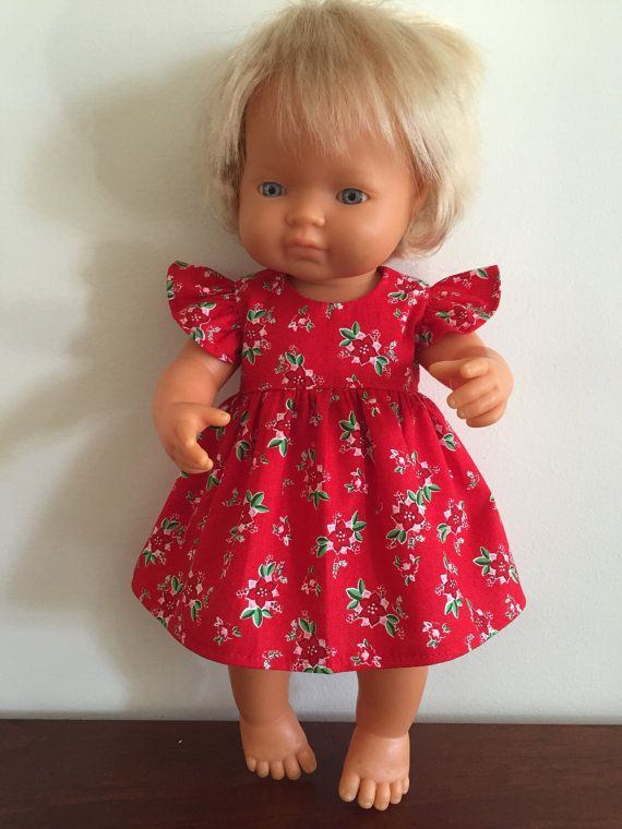 Flowers on Red Summer Dress by DebsDollsClothes on Etsy