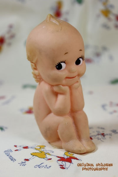 Vintage Kewpie in my favorite pose-reminds me of my little cutie pies when they were babies.