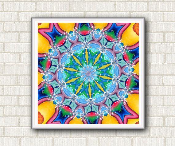 "Mandala digital paper. Instant download of sacred geometry. Wall art printable. Motivational poster. Yellow red blu pink 7.50"" x 7.50"" by DreamingMandalas #digitalprint #mandalaprintable #mandala #digitaldownload #homewalldecor #artwallprintable #formeditation"