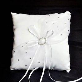 White diamonte broach decorated wedding ring pillow - Wedding Ring Pillows - Wedding Ceremony Accessories - Wedding