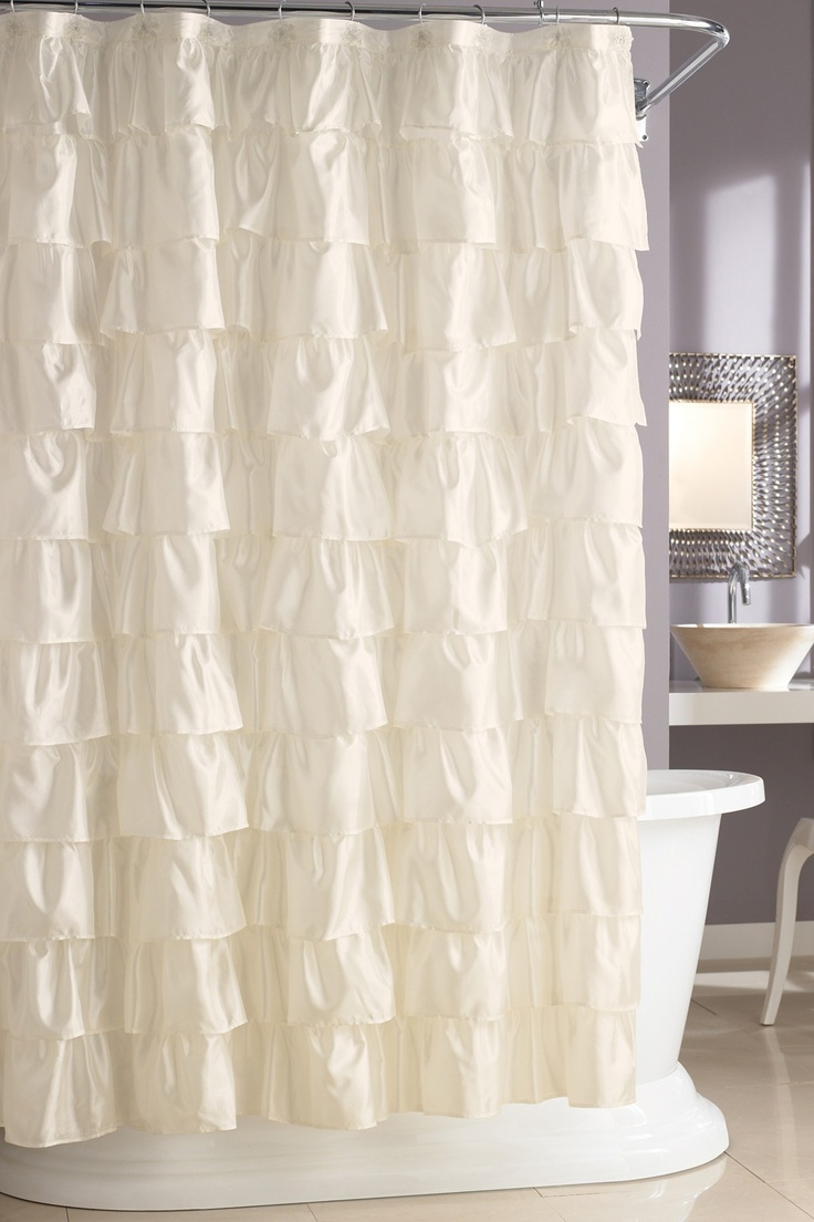 $42 Ruffle Shower Curtain by Steve Madden- cute! #shower #bathroom #ruffles #home