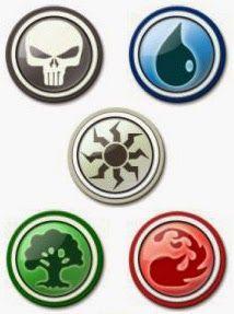 La mana de Magic the Gathering se divise entre le noir, le bleu, le blanc, le vert et le rouge, ayant chacun leurs forces et faiblesses. http://dedale-d-idees.blogspot.fr/2014/09/les-jeux-de-cartes-collectionner.html