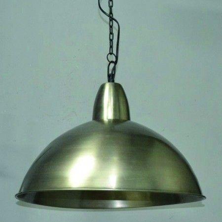 Suspension industrielle vintage JERSEY nickel antique en métal