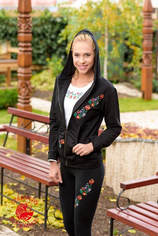 Szervető, kalocsai, hooded, cardigan, folk art, Hungary, embroidery, sweater, clothes, fashion
