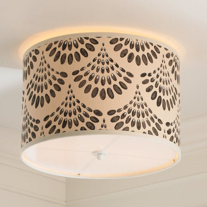 """Fun and modern, scallop shaped drops fan out to create this striking patterned Young House Love drum shade ceiling light. Choose from Black, Grey, Pink or Blue. 100% Cotton. Brass spider mount. Made in the USA.2x40 watt max medium base lamps.(16""""x16""""x10.5"""")Supplied with white acrylic diffuser and 5"""" round canopy."""