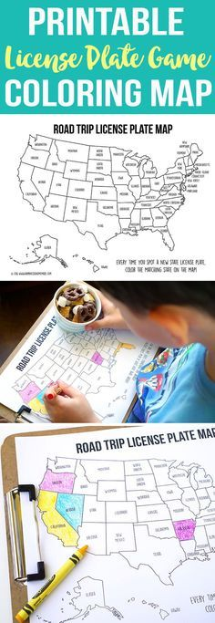 Printable Road Trip Coloring Map + Sweet & Salty S'mores Snack Mix Recipe! Play the license plate game on your next vacation!