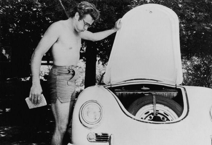 James Dean washes his Porsche Speedster