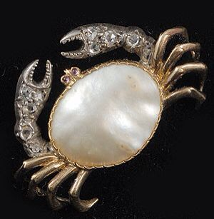 Victorian crab brooch. Silver, gold, diamond, pearl and ruby