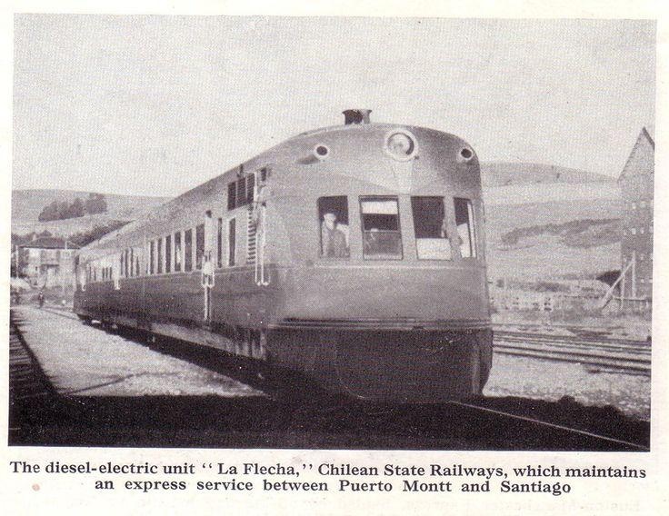 """Chile, Santiago. Tren """"La Flecha"""" servicio express que unía las ciudades de…"""