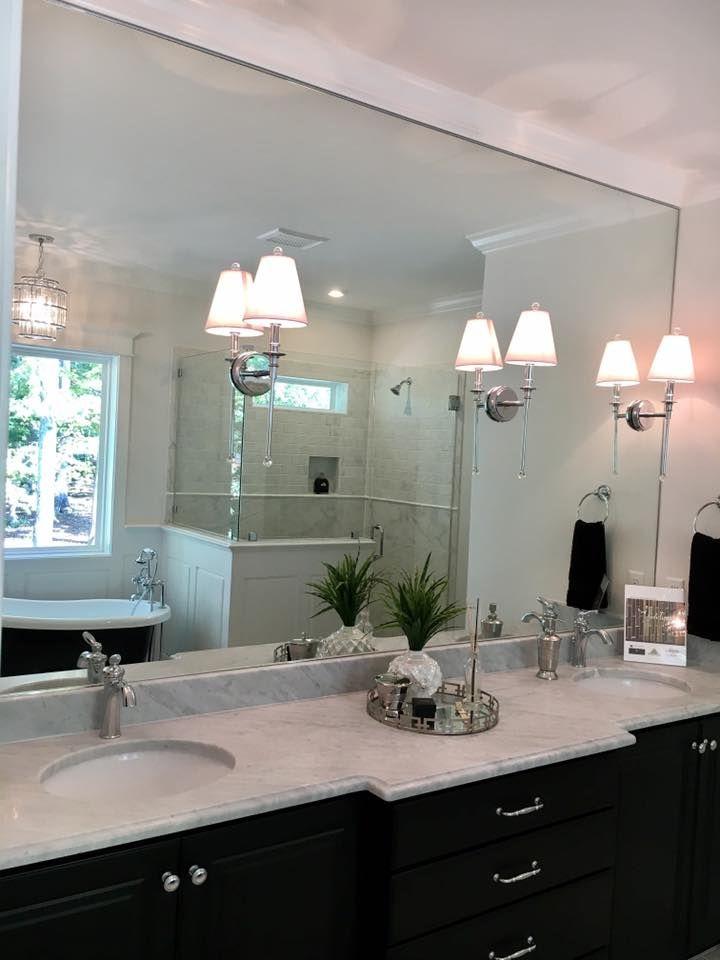 Chrome Sconces Mounted On Bathroom Mirror Bathroom Mirror Lights