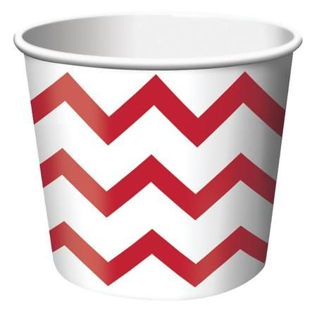Classic Red Chevron Striped paper treat cups are the ideal size for serving snacks, ice cream, candy or filled with small party favors. Our Chevron striped paper treat cups are disposable and feature the popular chevron stripe pattern in red on a white background. The paper treat cups are constructed from medium weight card-stock and will brighten up any spring event, birthday party, Baby shower or any other special occasion. Treat cups measure 2.5 Inches x 3.5 Inches and package contains 6…