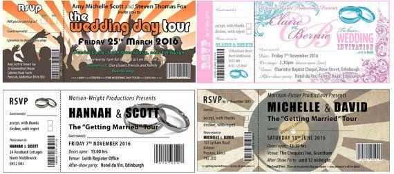 Gig Ticket Invitations by WeddingsByBlush on Etsy