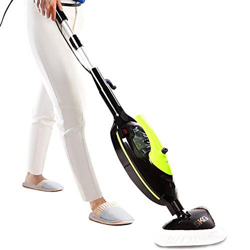 SKG 1500W Powerful Non-Chemical 212F Hot Steam Mops & Carpet and Floor Cleaning Machines (6- in-1 Accessories & 3 Microfiber Pads Included) - Steam Cleaners - 1500W POWERFUL 212F (100C) HOT STEAM CLEANS AND SANITIZES (100% Chemical Free)1. 1500W powerful steamer provides environmentally safe steam in 15~30 seconds. The 212F (100C) continuous hot steam delivers 99% sterilization against germs to deep clean and sanitize.2. 100% Chemical Free steam mop is...