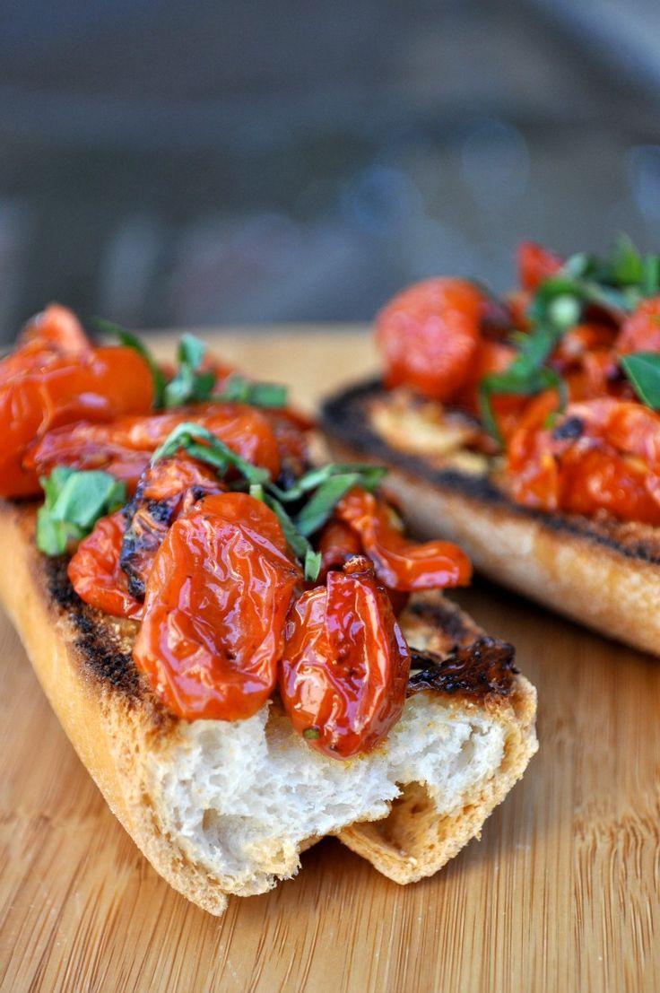 Gluten free and dairy free Roasted Tomato and Garlic Crostini