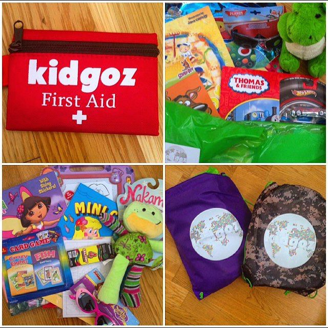 First aid kits, different colored backpacks, activities and books - everything your children need for travel and vacations!
