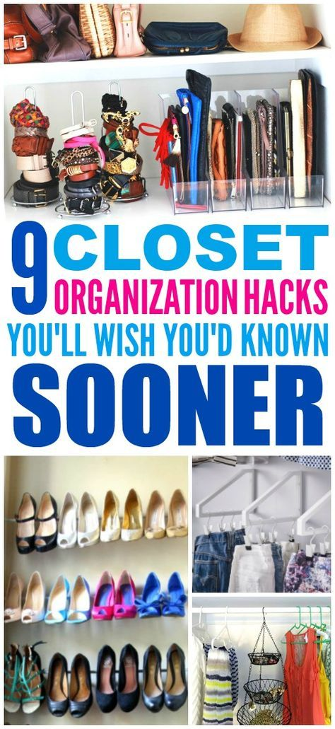These 9 closet organization hacks are THE BEST! I'm so glad I found these AWESOME tips! Now I know how to get more space for my small closet and small apartment! Definitely pinning!