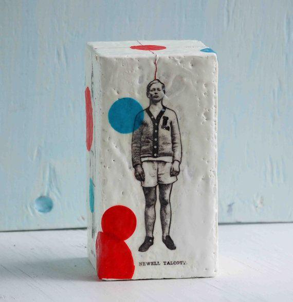 BOYFRIENDS Art Block Painting Original Encaustic Mixed Media Doll Vintage Boy Sculpture
