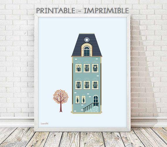 laminas decorativas, casas vintage, laminas casas, cuadro vintage, lamina vintage, laminas a4, laminas imprimibles, laminas a3, cuadro casa