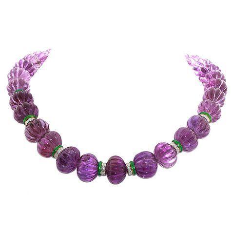 DAVID WEBB carved amethyst & diamond necklace | 1stdibs.com