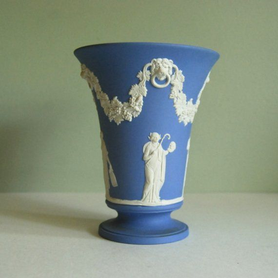 Wedgewood Blue Jasperware Vase made in England in 1964