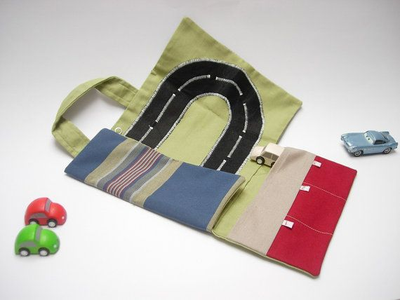 Toy car roll holder and tote little play mat for toddlers / handmade travel toy on the go in cotton on Etsy, $40.66 AUD