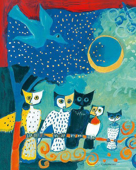 Rosina Wachtmeister: Una Notte di Luna 40x50 Keilrahmen-Bild Eulen in Möbel & Wohnen, Dekoration, Bilder & Drucke | eBay