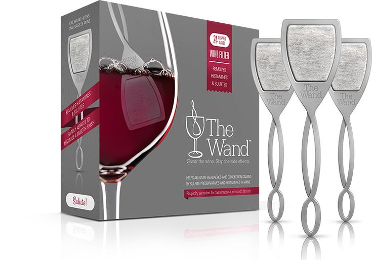 The Wand Wine Filter 24 pack absorbs sulfites, etc in your glass of wine