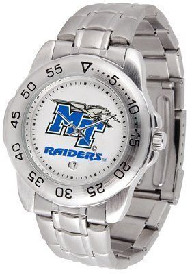 Middle Tennessee State Blue Raiders (MTSU) Suntime Mens Sports Watch w/ Steel Band by SunTime. $49.95. Rotation Bezel/Timer. Calendar Date Function. Scratch Resistant Face. The Sport Steel watch by Suntime features your favorite team logo in a European styled stainless steel case with a stainless steel strap and security buckle.. Save 29%!
