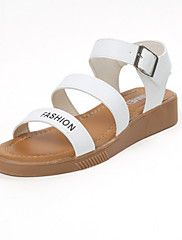 Women's+Sandals+Summer+Mary+Jane+Leatherette+Outdoor+Dress+Casual+Flat+Heel+Buckle+Black+White+Walking+–+CAD+$+66.04