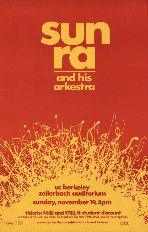 """Sun Ra, Zellerbach Auditorium, Berkeley, 1978, 13.625 x 21.25"""""""
