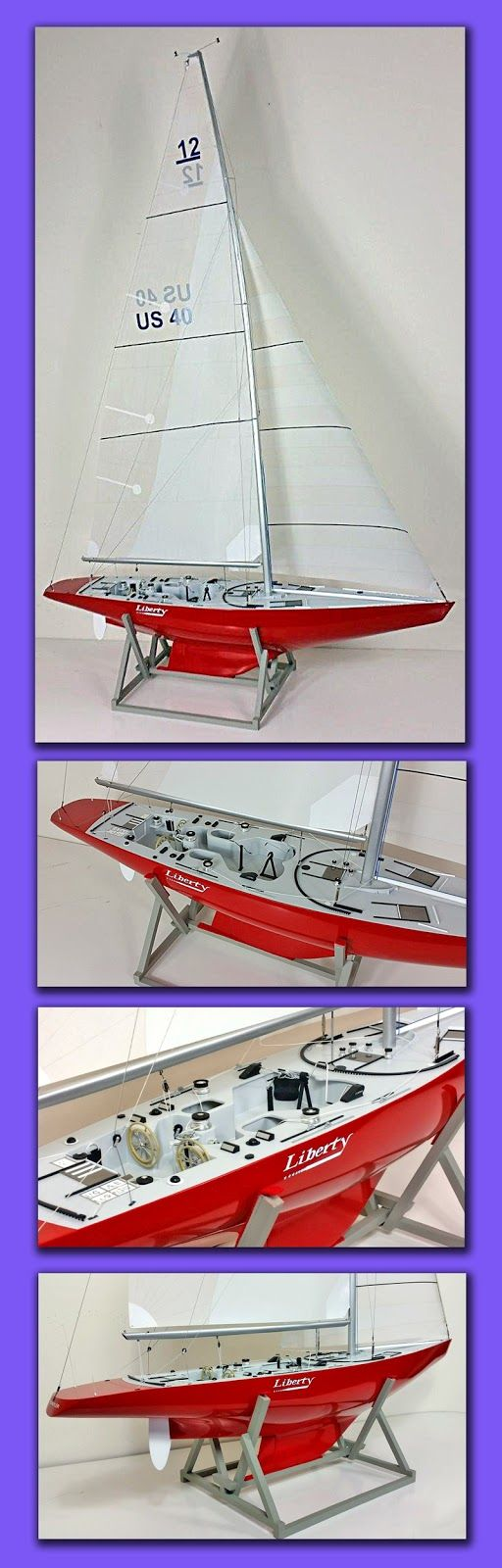 Since 1983 we have built 6 models of 'Australia II' but never a model of the yacht that lost the 'America's Cup' ! Well now as you can see, we have remedied that situation. The owner of one of our 'Australia II' models commissioned us to build a model to the same scale. After a month of searching  we located original plans in Holland and started on our work about six months ago. The results of our labour you can see here. Is this the only model of 'Liberty' in Australia? The only other model…