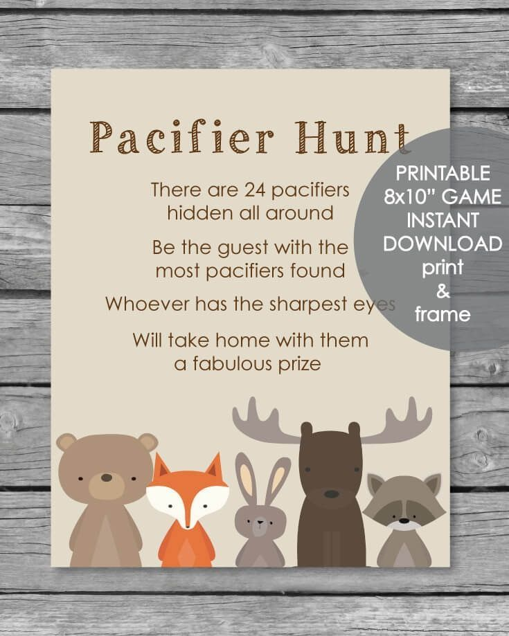 Printable Baby Shower Bingo Game – Woodland Animal Theme