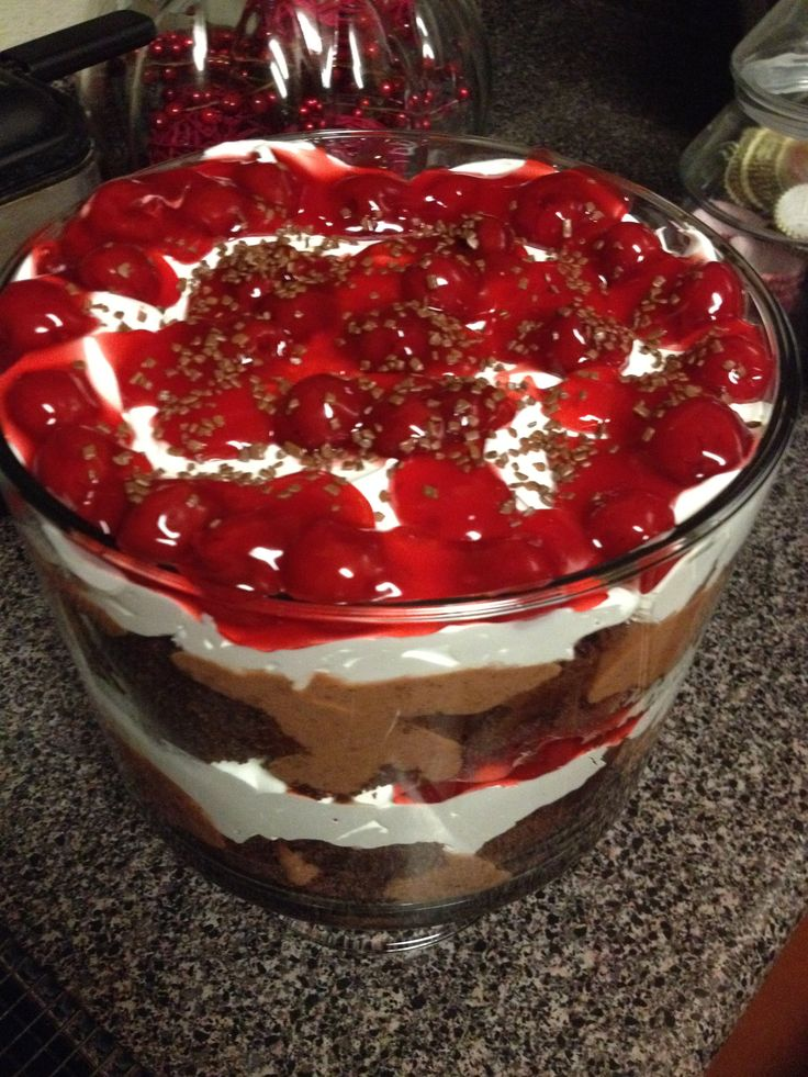 Black forest trifle recipe other the o 39 jays and quick for Quick and easy trifle dessert recipes