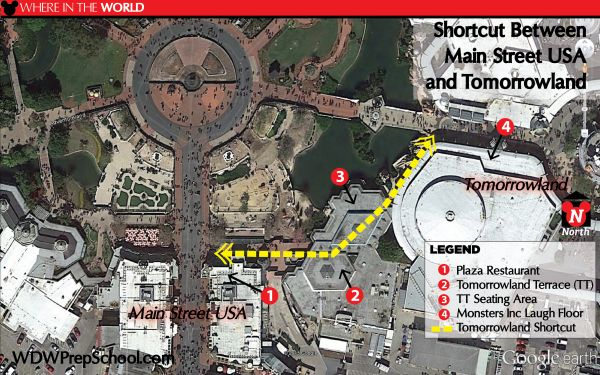 Tomorrowland Terrace shortcut in Magic Kingdom - Many people don't realize these routes exist but they can save your time (and a few steps!)
