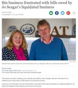 """The owners of a North Canterbury bin business say celebrity chef Jo Seagar """"ignored"""" reminders for an outstanding bill worth nearly $1000 before her business shut down.  Jodie and John McKnight, who own Waimak Bins, have been left wondering whether an outstanding $943.47 bill owed from Seagar's Oxford cafe and cook school will be paid."""