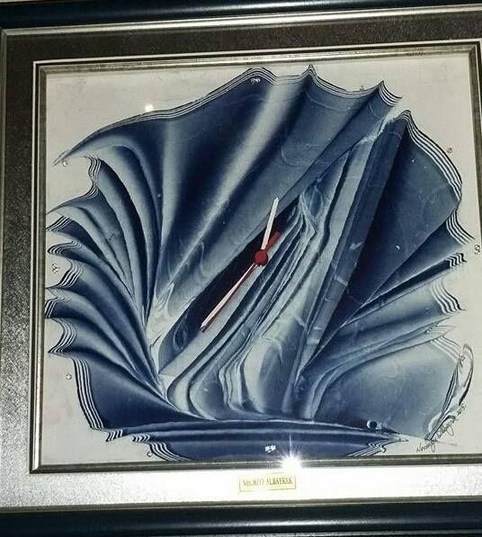 Clock. Marbled paper, ebru by Necmiye Albayrak.