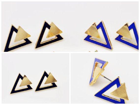 Triangle Drop Earrings Black OR Blue by BellaHarperBoutique