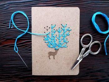 刺繍って、布だけにするものだと思っていませんか? 実は、紙にする刺繍がとても素敵。ポストカードなどに刺繍を 加えるだけで、雰囲気がぐっと良くなります。